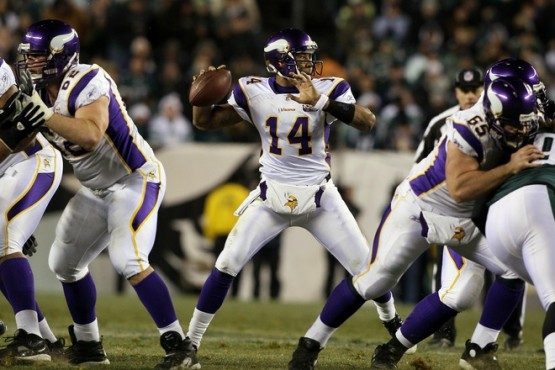 Joe Webb (14) of the Minnesota Vikings throws a pass against the Philadelphia Eagles at Lincoln Financial Field on December 26, 2010 in Philadelphia, Pennsylvania. Photo by Jim McIsaac/Getty Images .....
