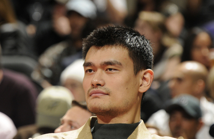 Yao Ming of the Houston Rockets watches the Rockets game against the San Antonio Spurs on November 6, 2010 at the AT&T Center in San Antonio, Texas. NBAE (Photos by D. Clarke Evans/NBAE via Getty Images .......