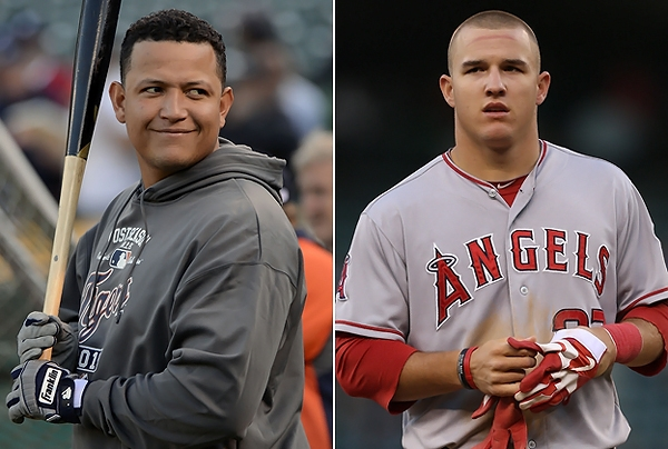 (7) Miguel Cabrera , right, of the Detroit Tigers , and his contemporary Mike Trout of the Anaheim /Los Angeles Angels . Both players were the leading vote-getters for the 2012 AL MVP , which was eventually won by the Triple Crown winner , Cabrera . A crowning achievement for the player after an exception 2012 season . AP Photo / Ryan Hall ...