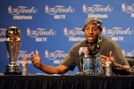(1) 2015 NBA Finals' MVP Andre Iguodal speaks to the convened press after the Golden State Warrriors' game six triumph to defeat the Clevland Cavaliers , on their way to winning the franchise's first NBA title in four decades. AP Photo/ Gary Kincaid